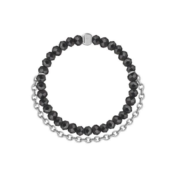 кольцо из черной шпинели с серебряной цепочкой