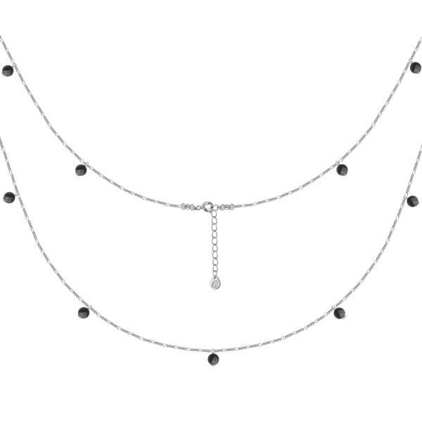 Серебряная цепь с черными шпинелями