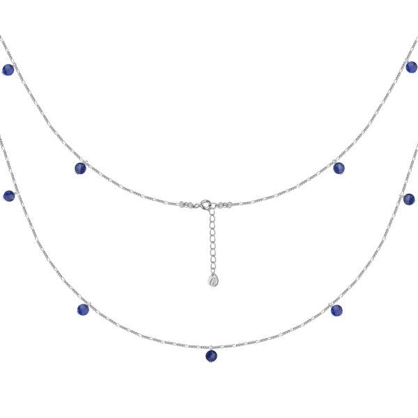 Серебряная цепь с лазуритами