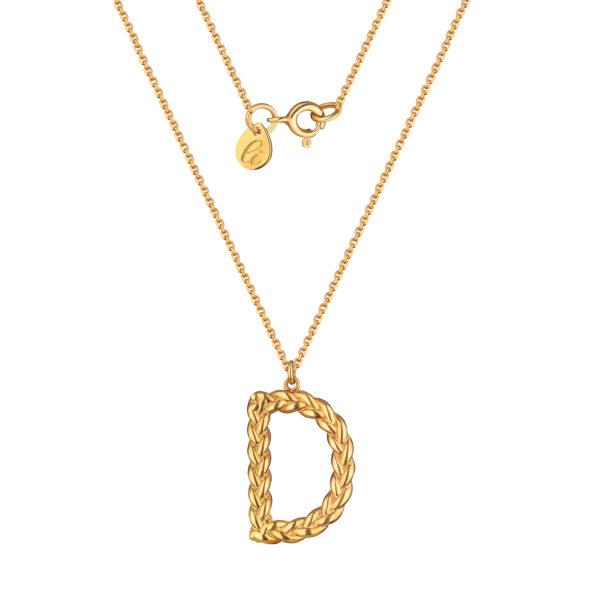Позолоченная буква D английская на цепочке из серебра с позолотой