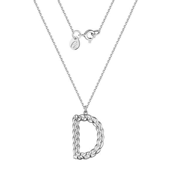 серебряная цепочка с подвеской буква D