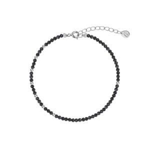 браслет с ассиметричным рисунком из натуральных камней и серебра