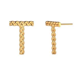 серьги из серебра с позолотой буква Т