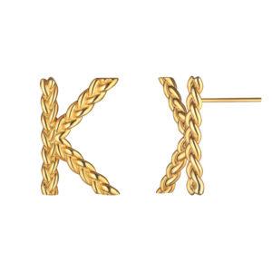Позолоченные серьги с буквой К