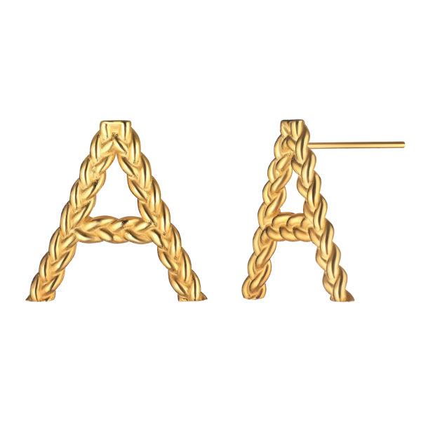 позолоченные серьги с буквой А