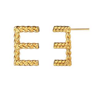Позолоченные серебряные серьги буквы Е