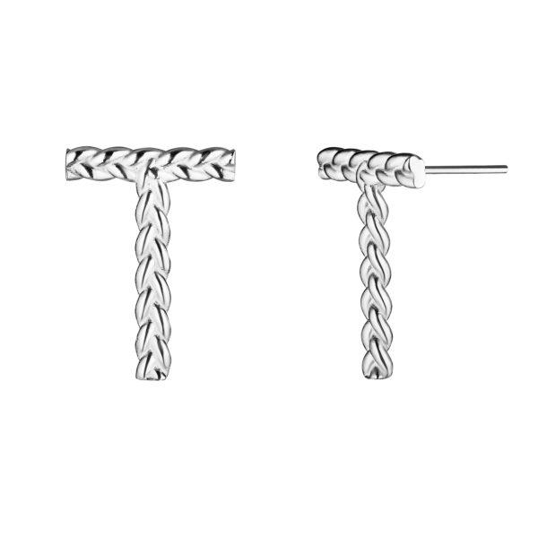 Серебряные серьги с буквой Т