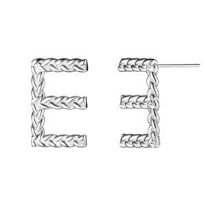 Серьги с буквой Е из серебра 925