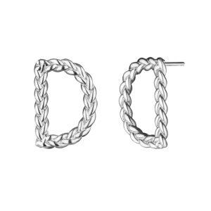 Серебряные серьги буквы Д английского алфавита
