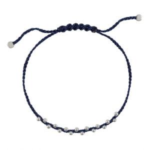 браслет веточка удачи на темно-синей шелковой нити