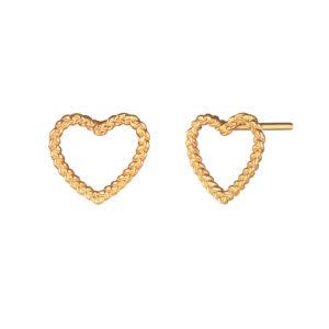 Серебряные серьги с позолотой в виде витых сердечек