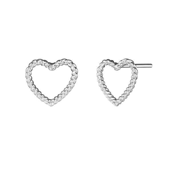 Серебряные серьги в виде витых сердечек для девочек от 7 лет и старше